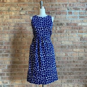 WHiT Navy Leaf Print Dress with open back detail